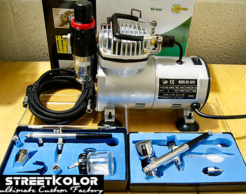 Airbrush set: Kompresor AS18-2 + 2x airbrush pistole + hadice