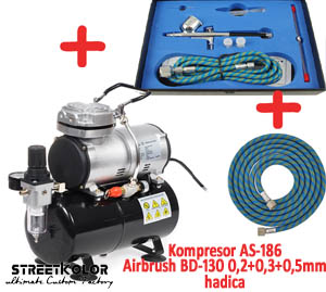 Airbrush set: Kompresor AS-186 a pistole BD-130K 0,2+0,3+0,5mm + hadice