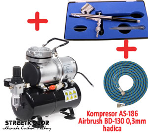 Airbrush set: Kompresor AS-186 a pistole BD-130 + hadice