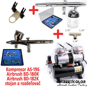 Airbrush set FENGDA: Kompresor AS-196 + pistole BD-180K + pistole BD-182K