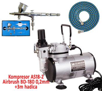 Airbrush set FENGDA:Kompresor AS18-2 + Airbrush pistole BD-180 0,2mm + hadice