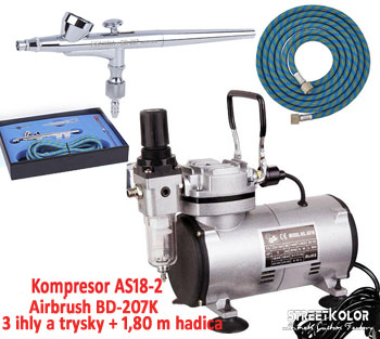 Airbrush set FENGDA: Kompresor AS18-2 + Airbrush pištoľ BD-207K + hadica