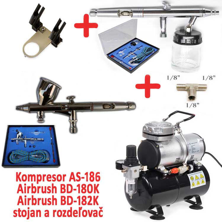 Airbrush set: Kompresor AS-186 a pistole BD-180K + pistole BD-182K