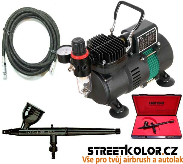 Airbrush profi set: HARDER & STEENBECK Hansa Topline 281 + kompresor AS-310