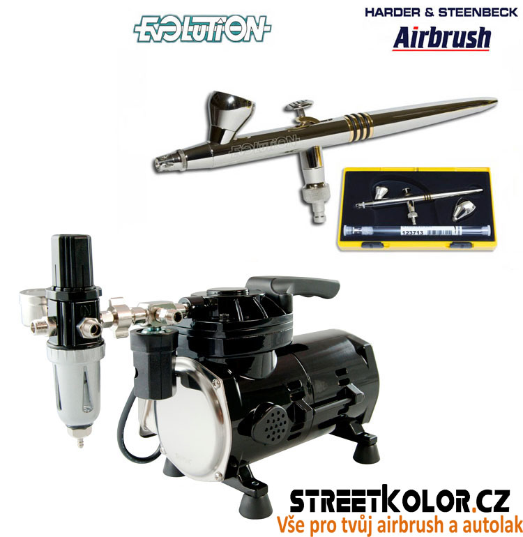 Airbrush set: kompresor SPARMAX TC-501N + pistole HARDER & STEENBECK Evolution