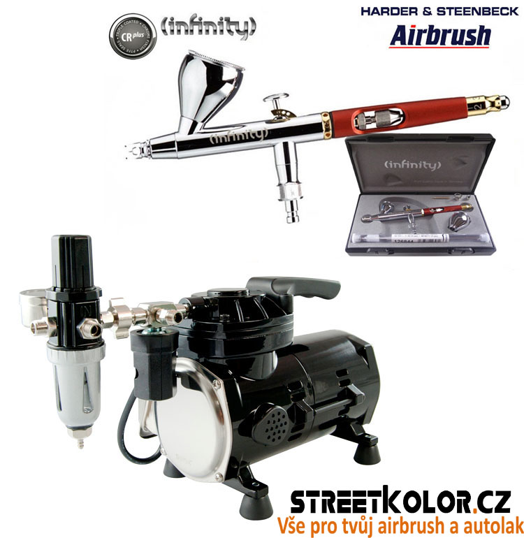 Airbrush set: kompresor SPARMAX TC-501N + pistole HARDER & STEENBECK Infinity