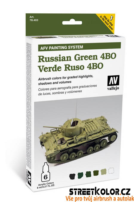 Vallejo 578.403 sada airbrush barev Russian Green 6x8 ml