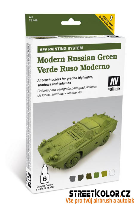 Vallejo 578.408 sada airbrush barev Modern Russian Green 6x8 ml