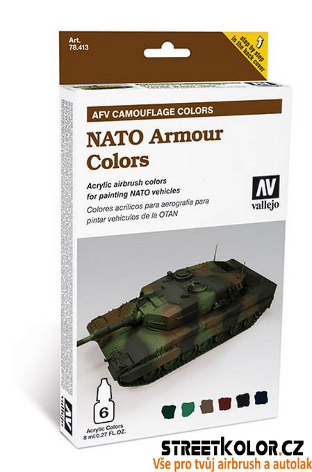 Vallejo 578.413 sada airbrush barev NATO Armour 6x8 ml