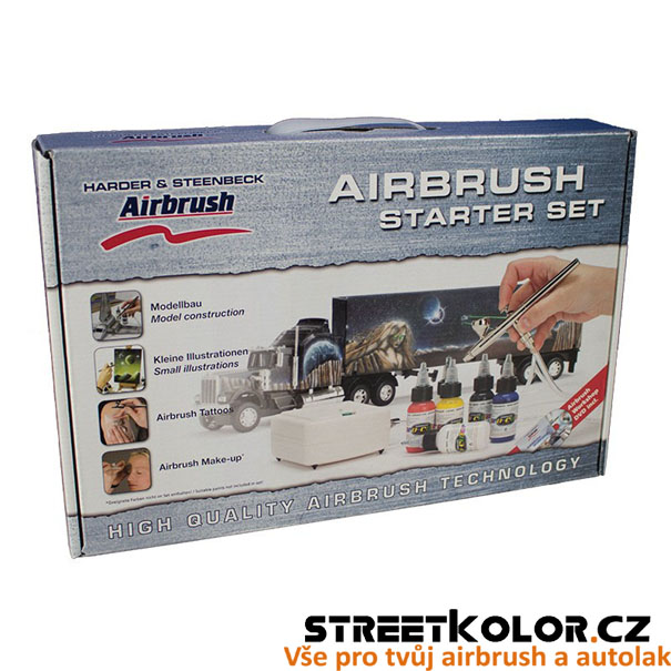 Airbrush startovací Set HARDER & STEENBECK s kompresorem, pistolí