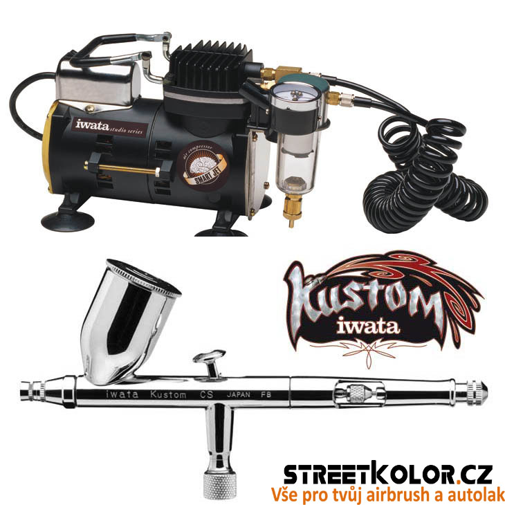 Airbrush set: kompresor Iwata IS-850 SMART JET + airbrush Iwata Kustom CS 0,35mm