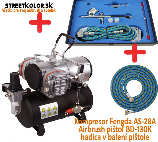 Airbrush set: Kompresor AS-28A a pistole BD-130K 0,2+0,3+0,5mm + hadice