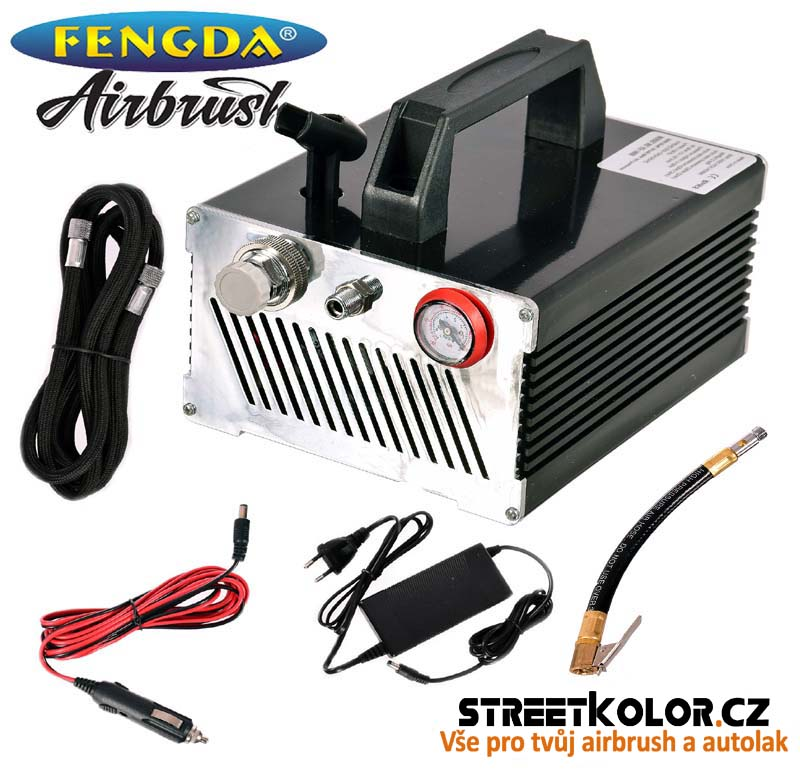Airbrush kompresor Fengda AS-166B, Napájení 230V / 12V i do autozapalovače