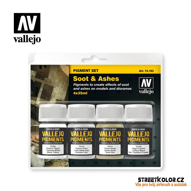Vallejo pigment - Set Soot and Ashes 73193  4 x 30ml