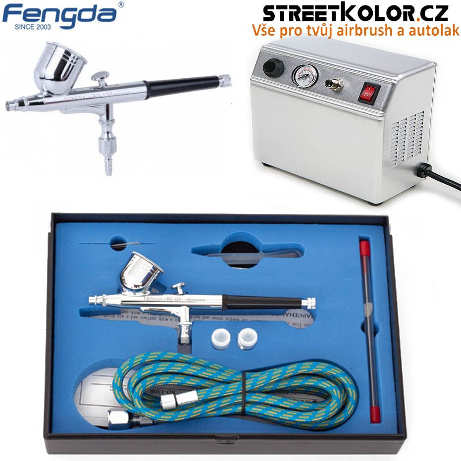 Airbrush set BD-840 s kompresorem FENGDA AS16-3 a airbrush pistoli BD-130K